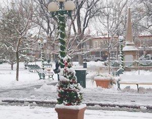 snowy plaza
